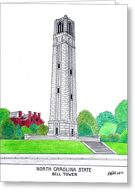 College Campus Drawings Greeting Cards - North Carolina State Greeting Card by Frederic Kohli