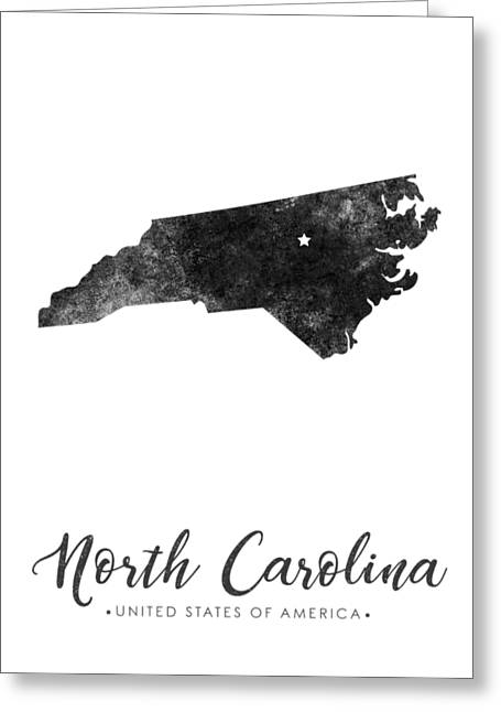 North Carolina State Map Art - Grunge Silhouette Greeting Card