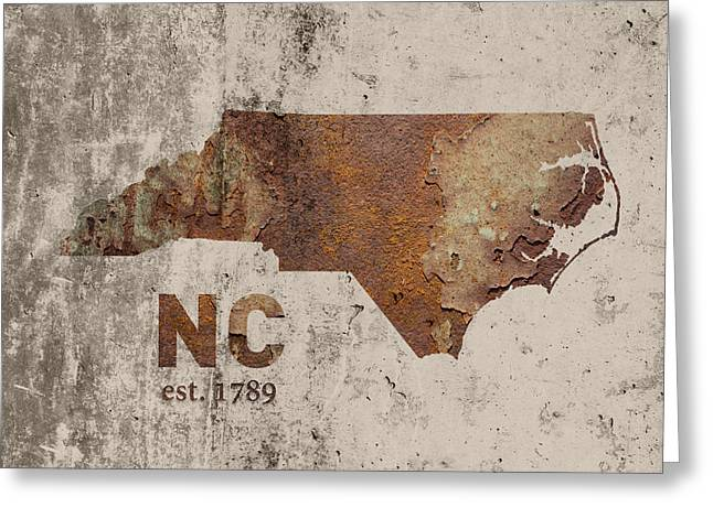 North Carolina State Map Industrial Rusted Metal On Cement Wall With Founding Date Series 022 Greeting Card by Design Turnpike