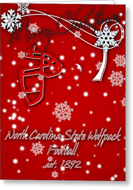 North Carolina State Wolfpack Christmas Card Greeting Card by Joe Hamilton