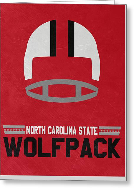 North Carolina State Wolfpack Vintage Football Art Greeting Card by Joe Hamilton