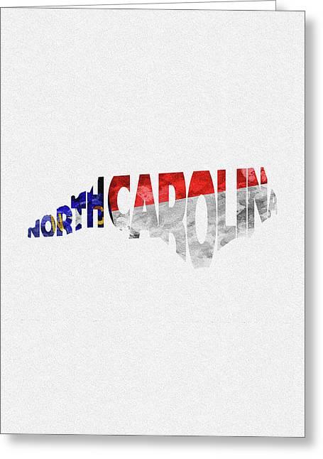 North Carolina Typographic Map Flag Greeting Card