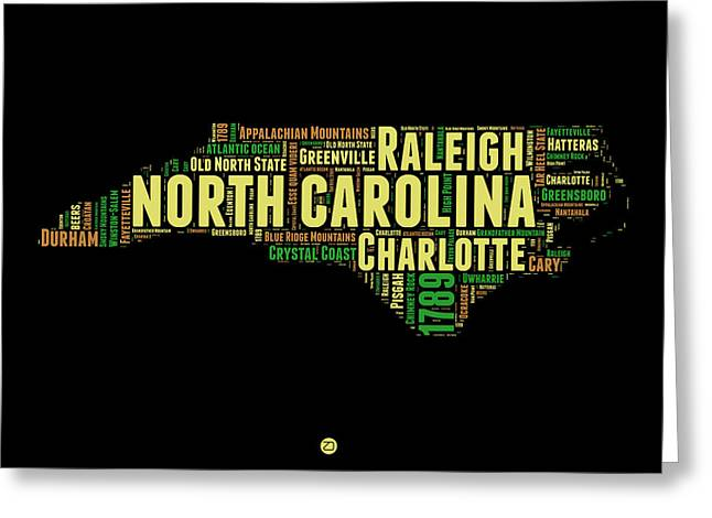 North Carolina Word Cloud Map 1 Greeting Card by Naxart Studio