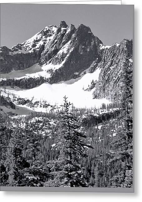 North Cascades Mountain Range Black And White Greeting Card by Dan Sproul