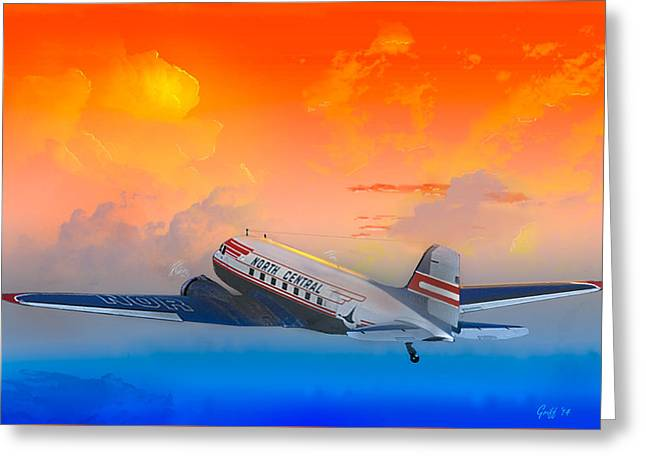 North Central Dc-3 At Sunrise Greeting Card