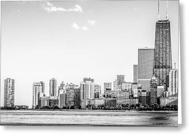 North Chicago Skyline Panorama In Black And White Greeting Card