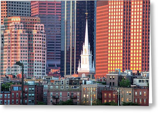 Old North Church Greeting Cards - North Church Steeple Greeting Card by Susan Cole Kelly