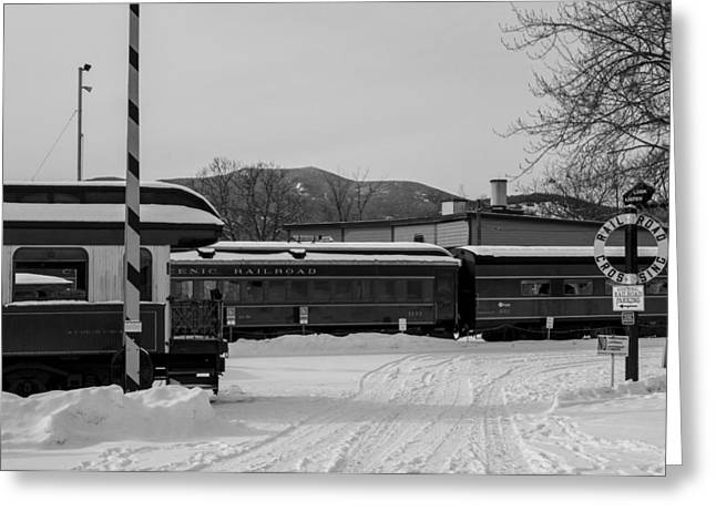 North Conway Nh Scenic Railroad Black And White Greeting Card by Toby McGuire