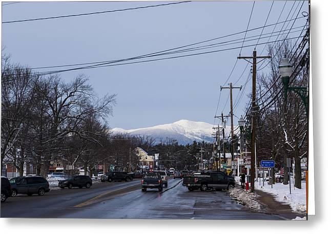 North Conway Winter Mountains Downtown Greeting Card by Toby McGuire