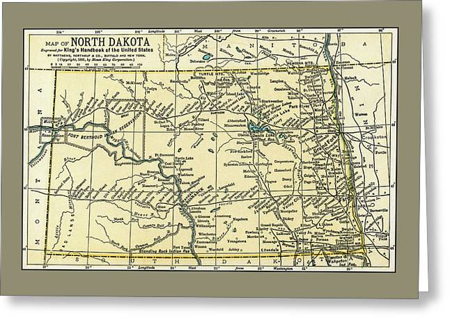 North Dakota Antique Map 1891 Greeting Card