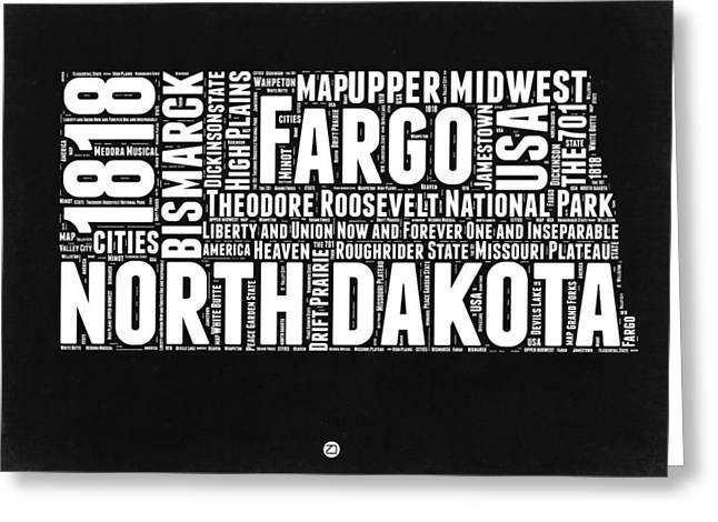 North Dakota Black And White Map Greeting Card by Naxart Studio