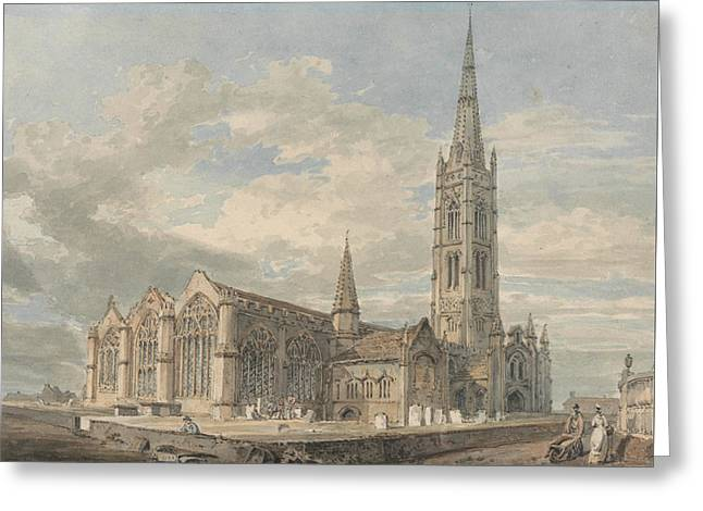 North East View Of Grantham Church Lincolnshire Greeting Card by Joseph Mallord William Turner