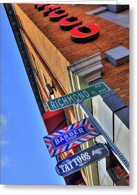 Greeting Card featuring the photograph North End Boston Signs - Bacco by Joann Vitali