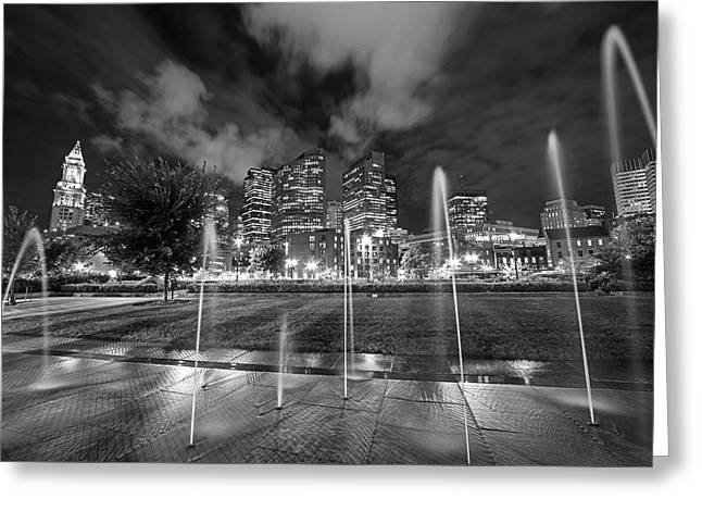 North End Park Fountains Boston Ma Black And White Greeting Card