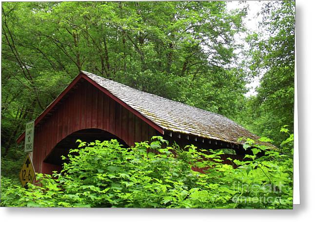 North Fork Yachats Bridge 1 Greeting Card by Methune Hively