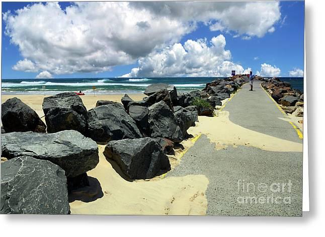North Haven Breakwater Walkway By Kaye Menner Greeting Card