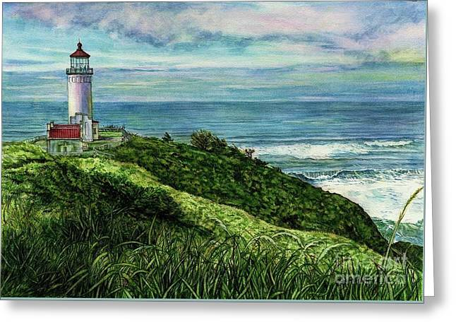 North Head Lighthouse And Beyond Greeting Card by Cynthia Pride