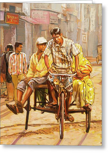 North India Street Scene  Detail View Greeting Card by Dominique Amendola