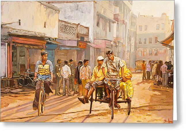 North India Street Scene Greeting Card by Dominique Amendola