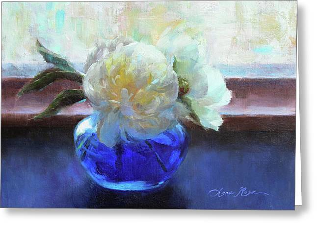North Light Peonies Greeting Card by Anna Rose Bain
