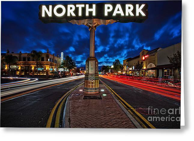 North Park Neon Sign San Diego California Greeting Card