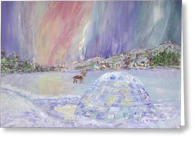 North Pole Accomodation Greeting Card by Mary Sedici