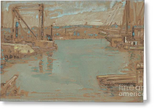 North River Dock, New York, 1901 Greeting Card