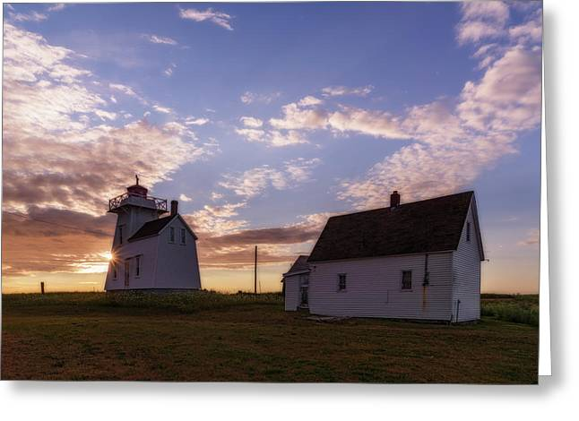 Greeting Card featuring the photograph North Rustico Lighthouse At Sunrise by Chris Bordeleau