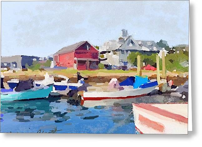 North Shore Art Association At Pirates Lane On Reed's Wharf From Beacon Marine Basin Greeting Card by Melissa Abbott