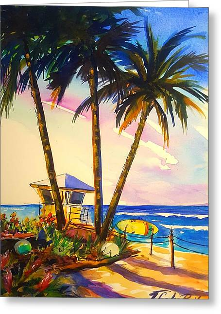 North Shore Lifeguard Hut Greeting Card by Therese Fowler-Bailey