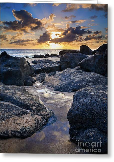 North Shore Sunset Greeting Card by Inge Johnsson