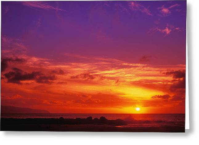 North Shore Sunset Greeting Card by Vince Cavataio - Printscapes