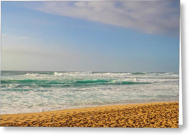 North Shore Waves In The Late Afternoon Sun Greeting Card