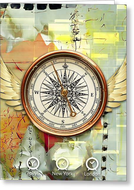 Greeting Card featuring the mixed media North, South, East And West by Marvin Blaine
