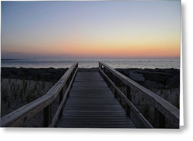 North Wildwood Seawall Just Before Sunrise Greeting Card by Bill Cannon