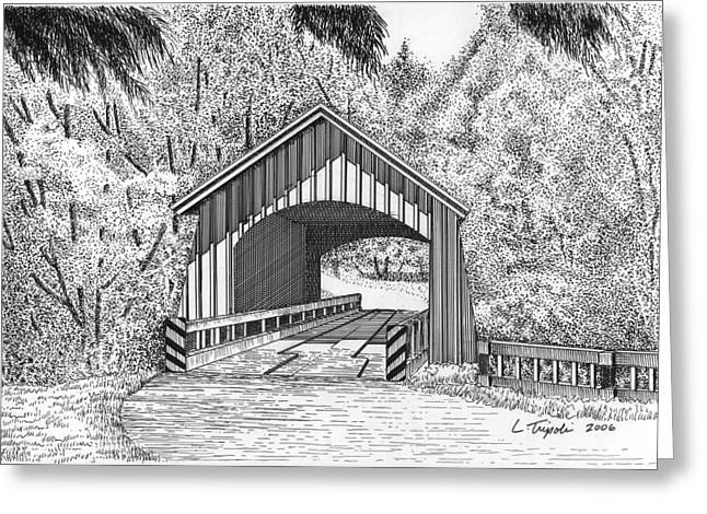 North Yachats Covered Bridge Greeting Card by Lawrence Tripoli