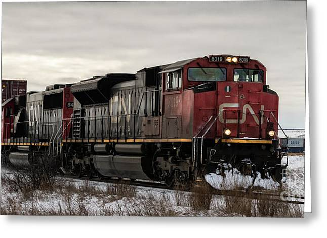 Greeting Card featuring the photograph Northbound Double Stack by Brad Allen Fine Art