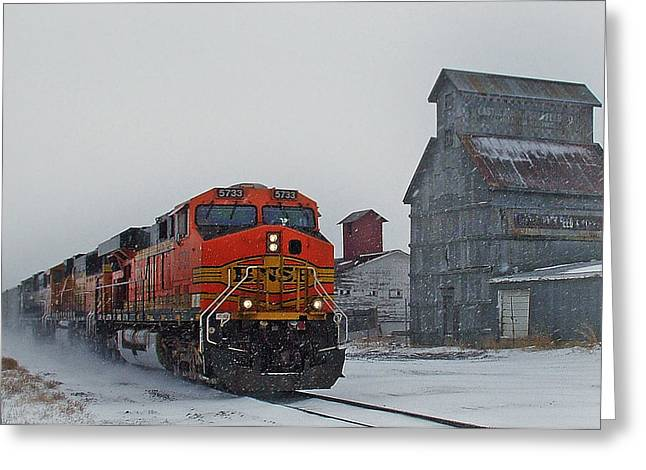 Santa Fe Greeting Cards - Northbound Winter Coal Drag Greeting Card by Ken Smith