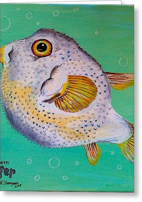 Norther Puffer Greeting Card by Emily Reynolds Thompson