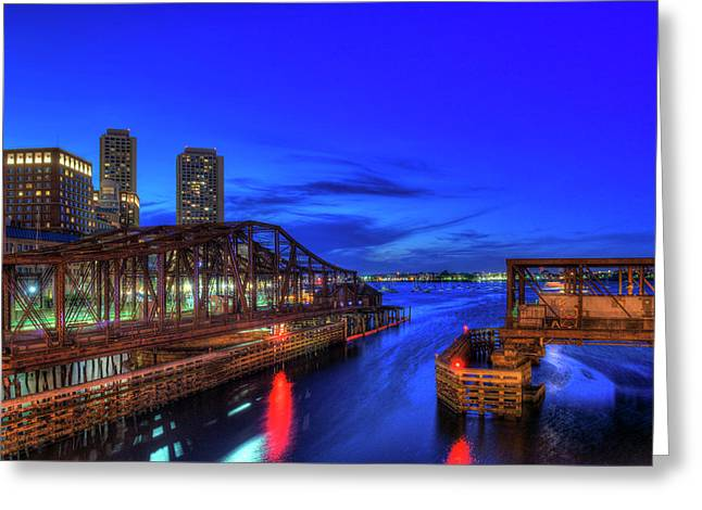 Northern Avenue Bridge And Boston Harbor At Night Greeting Card