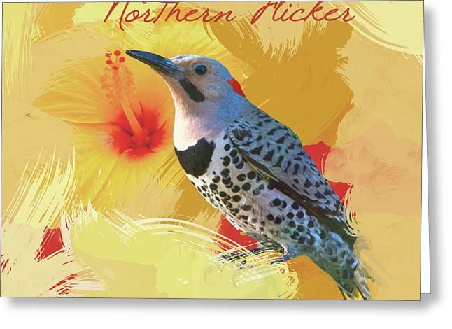 Greeting Card featuring the photograph Northern Flicker Watercolor Photo by Heidi Hermes
