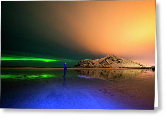 Northern Light In Lofoten, Nordland 4 Greeting Card