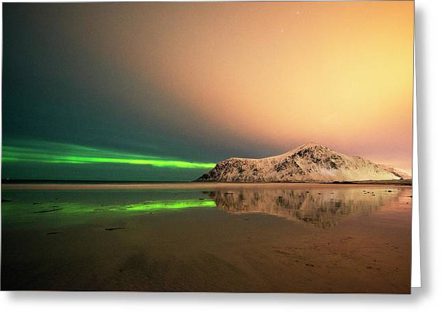 Northern Light In Lofoten Nordland 5 Greeting Card