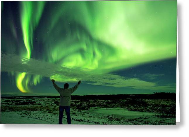 Northern Light In Western Iceland Greeting Card