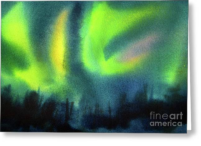 Greeting Card featuring the painting Northern Lights 3 by Kathy Braud