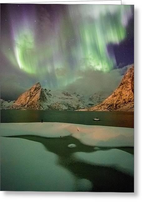 Northern Lights Above Olstinden Greeting Card by Alex Conu