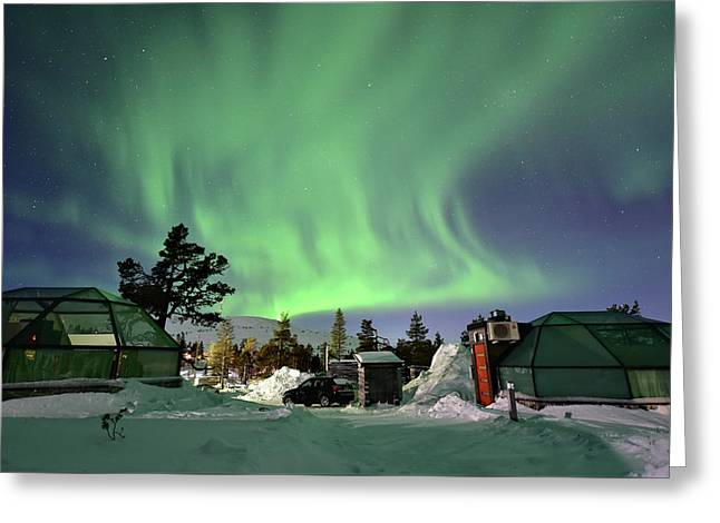Northern Lights And Glass Igloo Greeting Card by Edwin Verin
