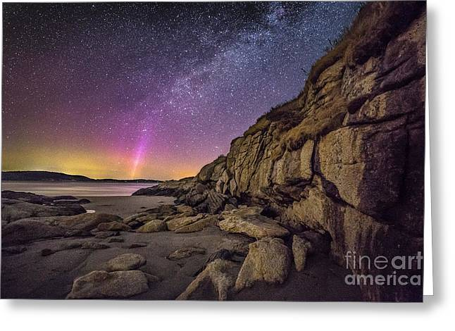 Northern Lights And Milky Way At The Cliffs On The Island Off Po Greeting Card by Benjamin Williamson