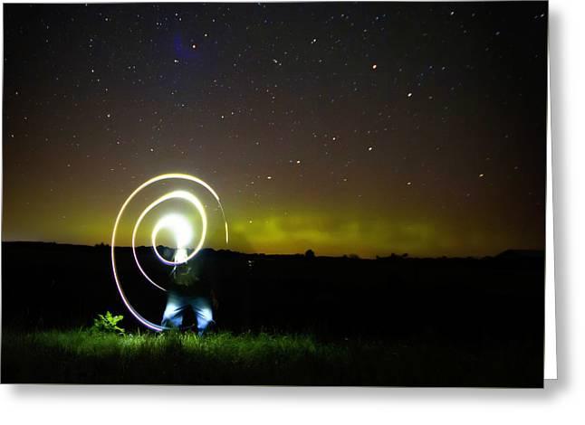 Northern Lights And Night Writing Greeting Card