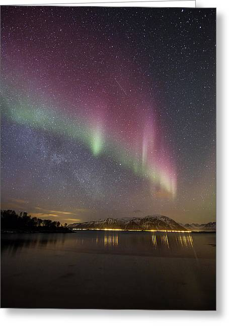 Northern Lights And The Milky Way Greeting Card by Frank Olsen